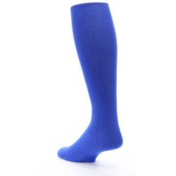 Image of Royal Blue Solid Men's Over-the-Calf Dress Socks (side-2-back-15)