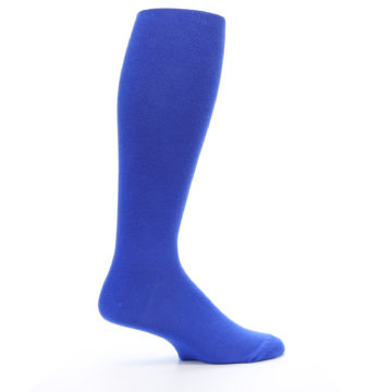 Image of Royal Blue Solid Men's Over-the-Calf Dress Socks (side-1-24)
