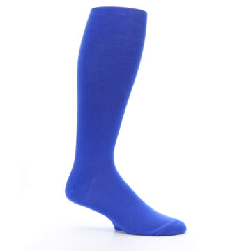 Image of Royal Blue Solid Men's Over-the-Calf Dress Socks (side-1-25)