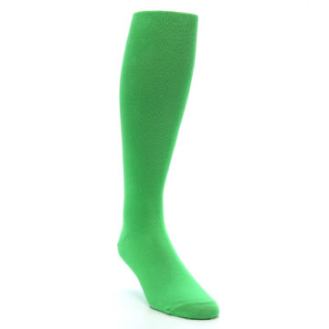 Image of Kelly Green Solid Men's Over-the-Calf Dress Socks (side-1-front-02)