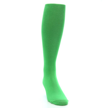 Image of Kelly Green Solid Men's Over-the-Calf Dress Socks (side-1-front-03)