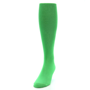 Image of Kelly Green Solid Men's Over-the-Calf Dress Socks (side-2-front-06)