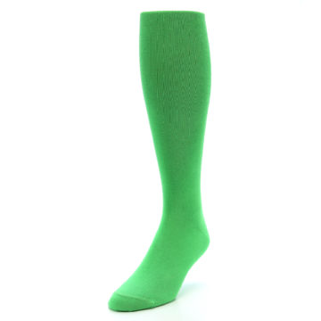 Image of Kelly Green Solid Men's Over-the-Calf Dress Socks (side-2-front-07)
