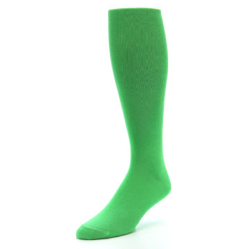 Image of Kelly Green Solid Men's Over-the-Calf Dress Socks (side-2-front-08)
