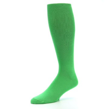 Image of Kelly Green Solid Men's Over-the-Calf Dress Socks (side-2-09)