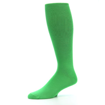 Image of Kelly Green Solid Men's Over-the-Calf Dress Socks (side-2-10)