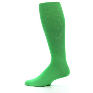 Image of Kelly Green Solid Men's Over-the-Calf Dress Socks (side-2-12)