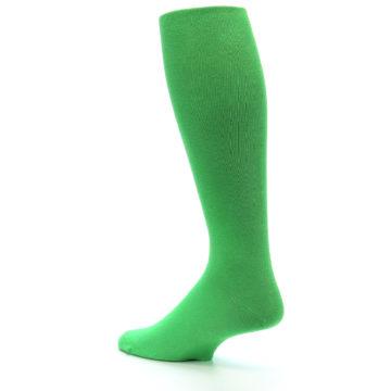 Image of Kelly Green Solid Men's Over-the-Calf Dress Socks (side-2-back-14)