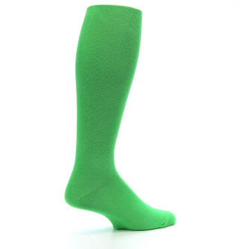 Image of Kelly Green Solid Men's Over-the-Calf Dress Socks (side-1-23)