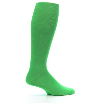 Image of Kelly Green Solid Men's Over-the-Calf Dress Socks (side-1-24)