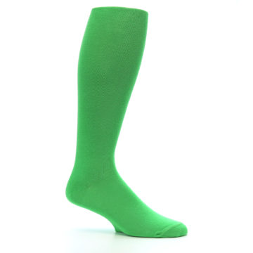 Image of Kelly Green Solid Men's Over-the-Calf Dress Socks (side-1-25)