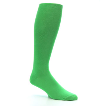 Image of Kelly Green Solid Men's Over-the-Calf Dress Socks (side-1-26)