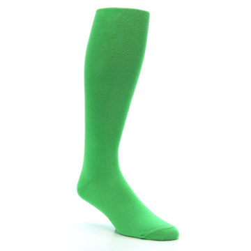 Image of Kelly Green Solid Men's Over-the-Calf Dress Socks (side-1-27)