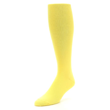 Image of Sunbeam Yellow Solid Men's Over-the-Calf Dress Socks (side-2-front-08)