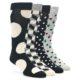 Image of Black Grey White Men's Dress Socks Gift Box 4 Pack (side-1-front-01)