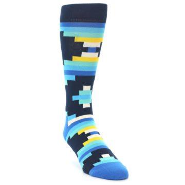 Image of Navy Blues Partial Stripes Men's Dress Socks (side-1-front-02)