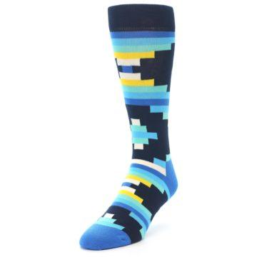 Image of Navy Blues Partial Stripes Men's Dress Socks (side-2-front-07)