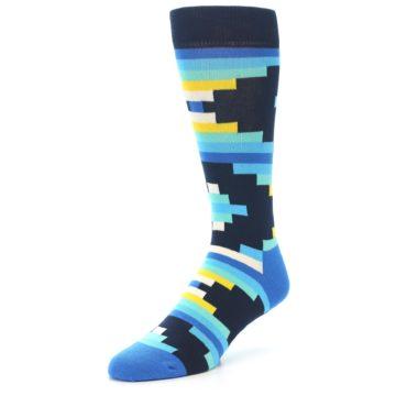 Image of Navy Blues Partial Stripes Men's Dress Socks (side-2-front-08)