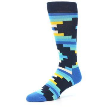 Image of Navy Blues Partial Stripes Men's Dress Socks (side-2-09)
