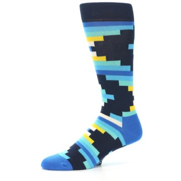 Image of Navy Blues Partial Stripes Men's Dress Socks (side-2-10)