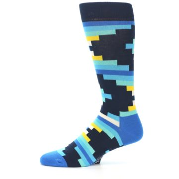 Image of Navy Blues Partial Stripes Men's Dress Socks (side-2-11)