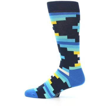 Image of Navy Blues Partial Stripes Men's Dress Socks (side-2-12)