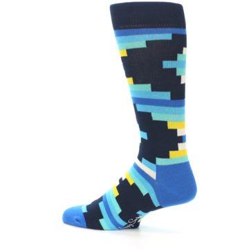Image of Navy Blues Partial Stripes Men's Dress Socks (side-2-13)