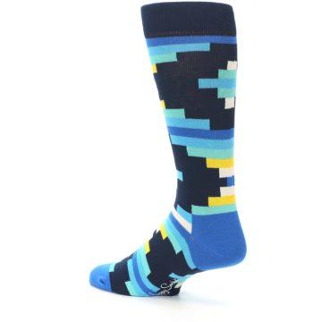 Image of Navy Blues Partial Stripes Men's Dress Socks (side-2-back-14)