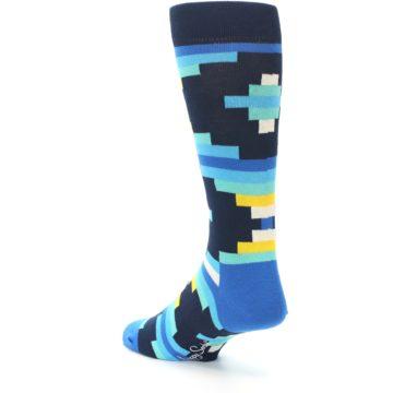 Image of Navy Blues Partial Stripes Men's Dress Socks (side-2-back-15)