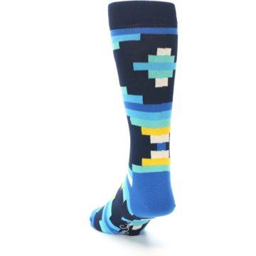 Image of Navy Blues Partial Stripes Men's Dress Socks (side-2-back-16)