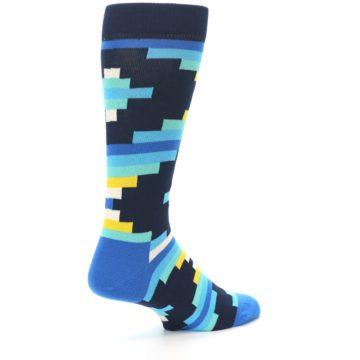 Image of Navy Blues Partial Stripes Men's Dress Socks (side-1-back-22)