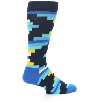 Image of Navy Blues Partial Stripes Men's Dress Socks (side-1-23)