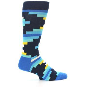 Image of Navy Blues Partial Stripes Men's Dress Socks (side-1-24)