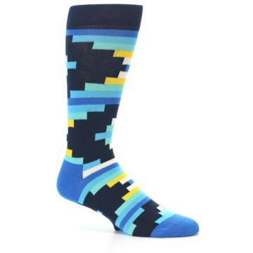 Image of Navy Blues Partial Stripes Men's Dress Socks (side-1-25)
