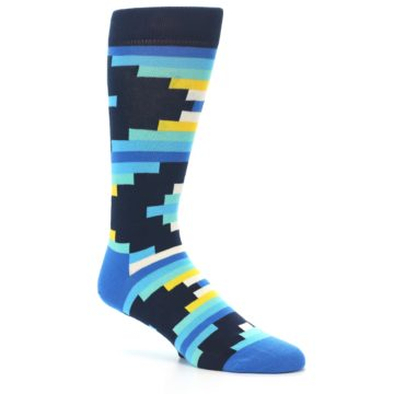 Image of Navy Blues Partial Stripes Men's Dress Socks (side-1-26)