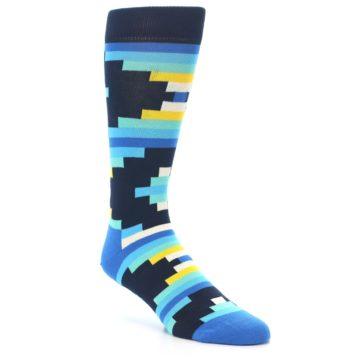 Image of Navy Blues Partial Stripes Men's Dress Socks (side-1-27)