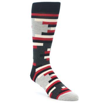 Image of Black Grey Red Partial Stripes Men's Dress Socks (side-1-front-01)