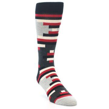 Image of Black Grey Red Partial Stripes Men's Dress Socks (side-1-front-02)