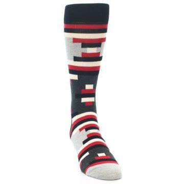 Image of Black Grey Red Partial Stripes Men's Dress Socks (side-1-front-03)