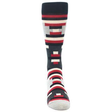 Image of Black Grey Red Partial Stripes Men's Dress Socks (front-04)