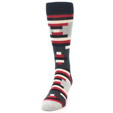 Image of Black Grey Red Partial Stripes Men's Dress Socks (side-2-front-06)