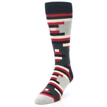 Image of Black Grey Red Partial Stripes Men's Dress Socks (side-2-front-07)