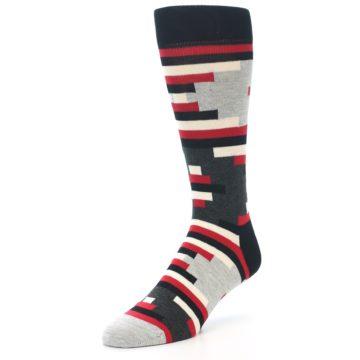 Image of Black Grey Red Partial Stripes Men's Dress Socks (side-2-front-08)