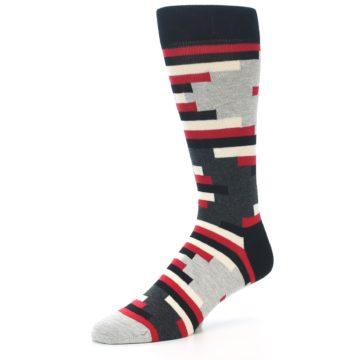 Image of Black Grey Red Partial Stripes Men's Dress Socks (side-2-09)