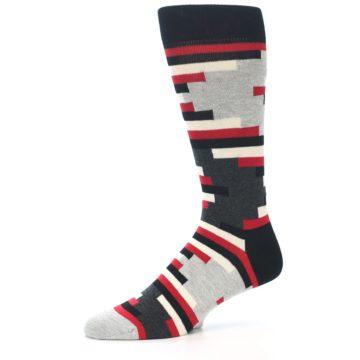 Image of Black Grey Red Partial Stripes Men's Dress Socks (side-2-10)