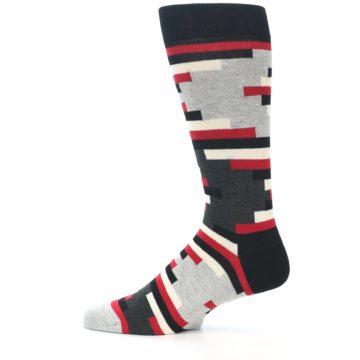 Image of Black Grey Red Partial Stripes Men's Dress Socks (side-2-12)