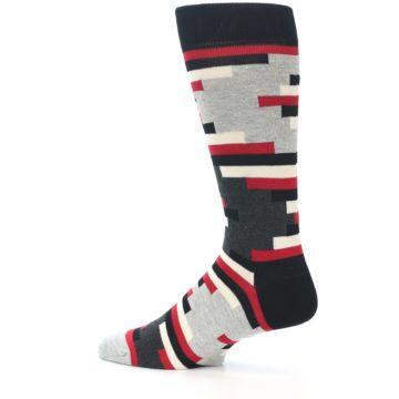 Image of Black Grey Red Partial Stripes Men's Dress Socks (side-2-13)