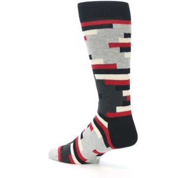 Image of Black Grey Red Partial Stripes Men's Dress Socks (side-2-back-14)