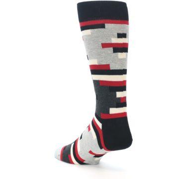 Image of Black Grey Red Partial Stripes Men's Dress Socks (side-2-back-15)