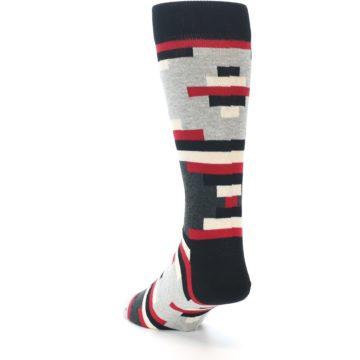 Image of Black Grey Red Partial Stripes Men's Dress Socks (side-2-back-16)